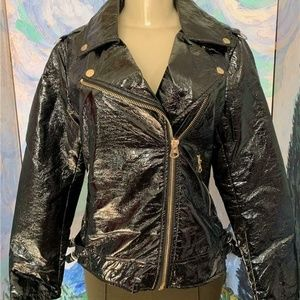 Jessica Simpson Black Glossy Faux Leather Jacket